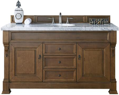 "James Martin Brookfield Collection 147-114-5371- 60"" Country Oak Single Vanity with Two Soft Closing Doors, Three Soft Closing Drawers, Backsplash, Hand Carved Filigrees and"