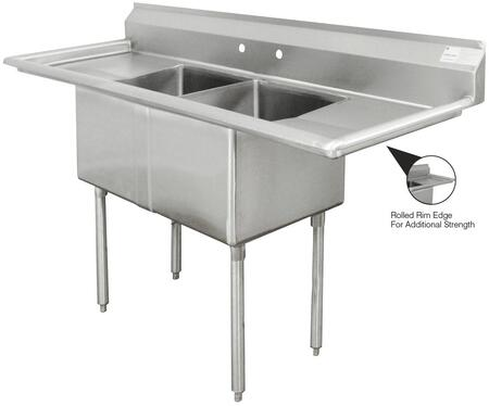 Two Compartment Sink with Left and Right Side Drainboard