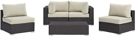 Modway Convene Collection 5 PC Outdoor Patio Sectional Set with Powder Coated Aluminum Frame, Washable Cushion Covers and Synthetic Rattan Weave Material in Espresso Color