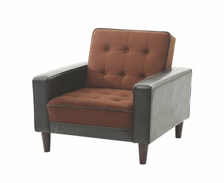 Glory Furniture G846C G800 Series Bycast Leather Convertible in Saddle Suede and Dark Brown Faux Leather