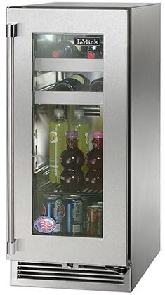 "Perlick HP15BS33xC 15"" Signature Series Indoor Beverage Center with 2.8 cu. ft. Capacity, RAPIDcool System, 525 BTU Commercial Grade Compressor and Classic Handle, in Stainless Steel Glass Door with"