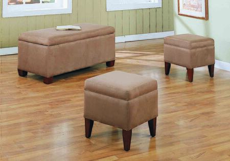 Monarch I896XOTO 3-Piece Ottoman Set with Storage Ottoman and 2 Small Ottomans in