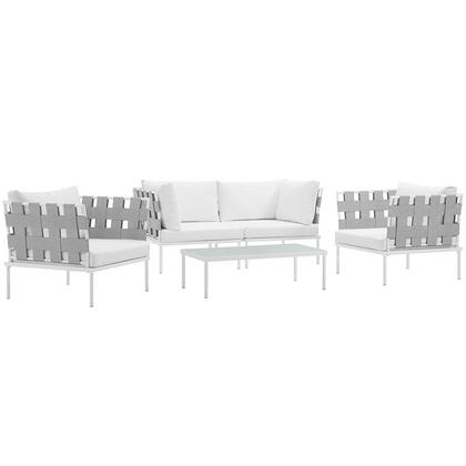 Modway Harmony Collection EEI-2623-WHI- 5-Piece Outdoor Patio Aluminum Sectional Sofa Set with Coffee Table, 2 Armchairs and 2 Corner Sofas in