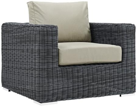 """Modway Summon EEI1864GRY 39"""" Outdoor Patio Fabric Sunbrella Armchair with 201 Stainless Steel Legs, Two-Tone Synthetic Rattan Weave, UV and Water Resistant in Canvas Color"""