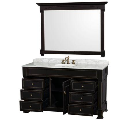 "Wyndham Collection WCVTRAS60 Andover 60"" Floor-Standing Traditional Vanity Set - Includes Cabinet, Marble Top and Backsplash, Undermount Ceramic Sink and Mirror coming in"