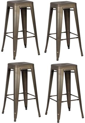 EdgeMod EM126BRZX4 Trattoria Series Commercial Not Upholstered Bar Stool