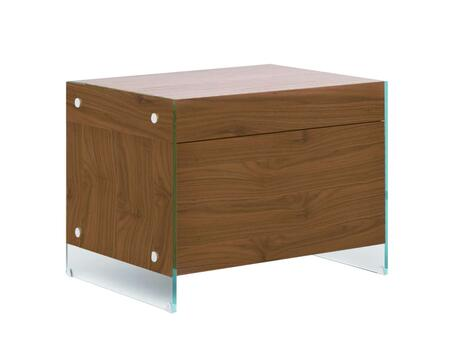 "Casabianca Il Vetro Collection CB-111-N 26"" Nightstand with Glass Legs, Drawer and MDF Construction in"