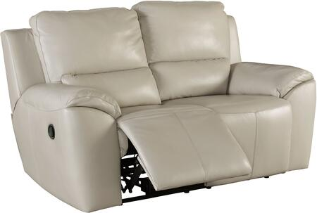 "Signature Design by Ashley Valeton U73500LS 70"" Leather Match Reclining Loveseat with Plush Padded Arms, Jumbo Stitching Details and Split Back Cushions in Cream Color"