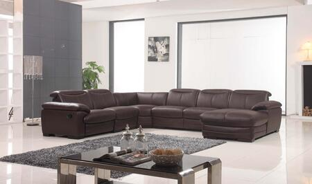 """ESF I1068X 145-115"""" 2146 Sectional with Leather in Dark Brown"""