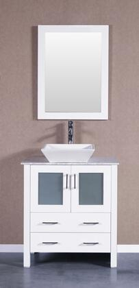 """Bosconi Bosconi AW124SQCMX 24"""" Single Vanity with 2 Soft Closing Doors , 2 Drawers,1 Top, 1 Sink, 1 Faucet and 1 Mirror in White"""