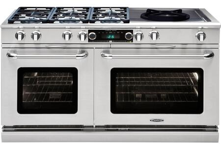 """Capital Precision Series CSB606WW-X 60"""" Freestanding Dual Fuel Electric Range with 6 Sealed Burners, Primary 4.6 Cu. Ft. Oven Cavity, Secondary 3.1 Cu. Ft. Oven Cavity, and Moto-Rotis, in Stainless Stee"""