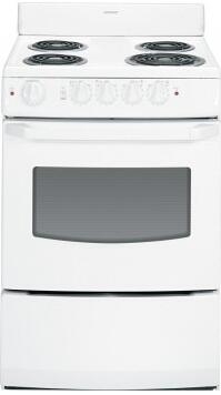 "Hotpoint RA824DDWW 24"" Electric Freestanding Range with Coil Element Cooktop, 3 cu. ft. Primary Oven Capacity, in White"