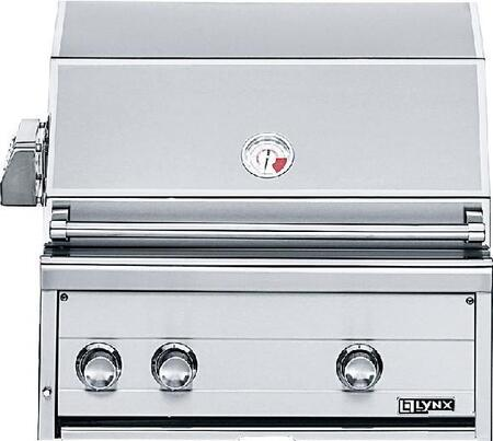 "Lynx L27R-2 27"" Built-in Gas Grill with 685 Sq. in Cooking Surface, 2-25,000 BTU Red Brass Burners, Infrared Rotisserie System and a Smoker Box."