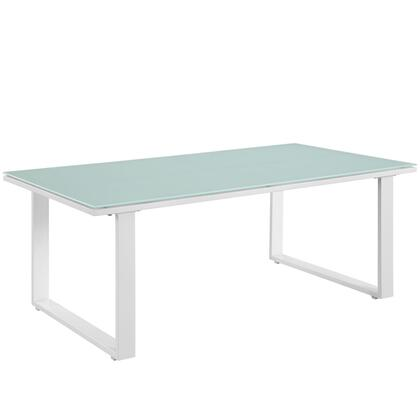 "Modway Fortuna Collection EEI-1516- 43"" Outdoor Patio Coffee Table with Powder Coated Aluminum Frame, Tempered Glass Top and Stretchers in"