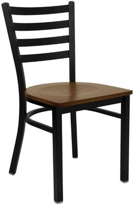 "Flash Furniture XU-DG694BLAD-W-GG Hercules Series 33"" Black Ladder Back Metal Restaurant Chair, Welded Joint Assembly, Curved Support Bar, 18 Gauge Steel Frame"