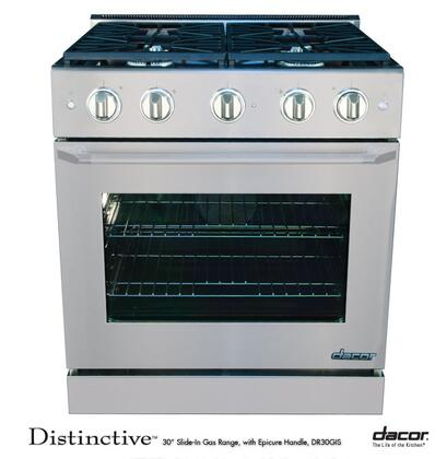 "Dacor DR30GISNGH 30"" Distinctive Series Slide-in Gas Range with Sealed Burner Cooktop 4.8 cu. ft. Primary Oven Capacity 18000 BTU BTUs