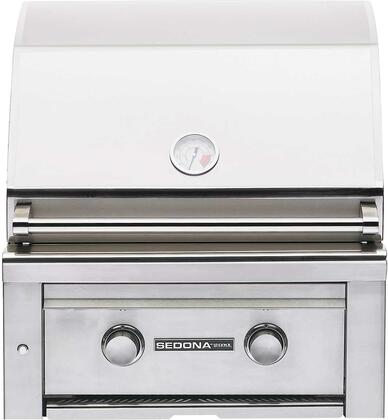 """Lynx L400PSXX 24"""" Sedona Series Sedona Series Built-In Grill with 1 Stainless Steel Burner, 1 ProSear Burner, 575 sq. in. Cooking Surface, Ceramic Briquettes, and Temperature Gauge, in Stainless Steel"""