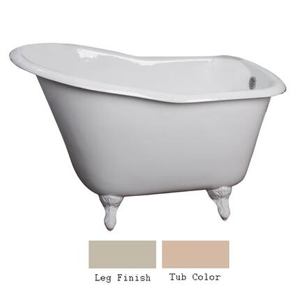 "Barclay CTSN52 52"" Galloway Cast Iron Slipper Tub with Overflow and No Faucet Holes in"
