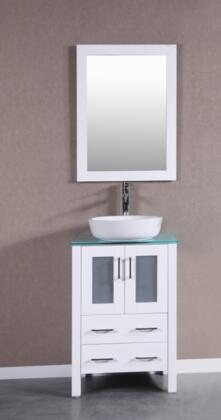Bosconi Bosconi Single Vanity with soft closing doors , Sink, Faucet and Mirror in White
