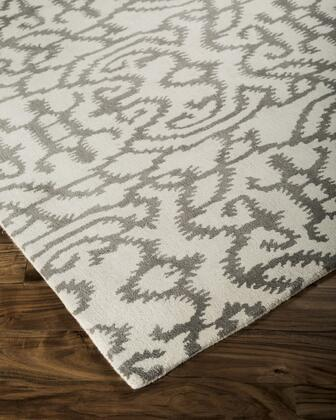 "Signature Design by Ashley Benbrook R40030 "" x "" Size Rug with Abstract Design, Hand-Tufted, 9-11mm Pile Height and Wool Material Backed with Cotton in Grey and Ivory Color"