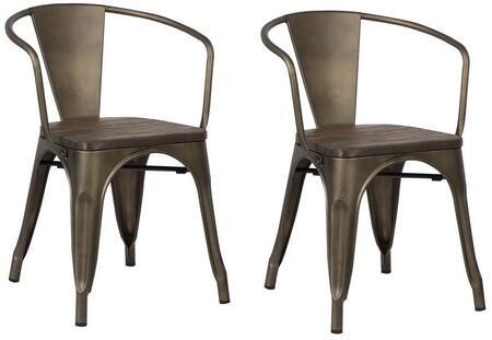 EdgeMod EM113ELMBRZX2 Trattoria Series Modern Metal Frame Dining Room Chair