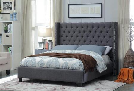 Meridian Ashton ASHTONGREY-X Upholstered Bed with Deep Detailed Tufting, Chrome Nailheads and Wing Design in Grey