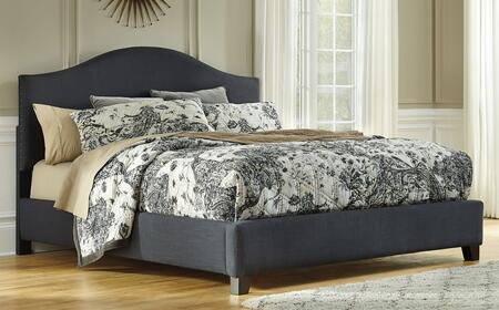 Signature Design by Ashley B6004 Kasidon Size Upholstered Bed with Camel Back, Dark Grey Textured Fabric, Thick Arch Shape and Nailhead Trim in Dark Grey Finish