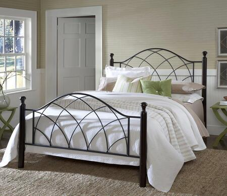 Hillsdale Furniture 1764BR Vista Poster Bed Set with Rails Included, Black Turned Posts and Tubular Steel Construction in Metallic Silver