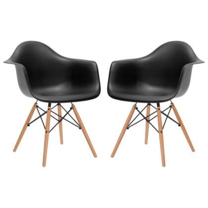 EdgeMod EM110NATBLKX2 Vortex Series Modern Wood Frame Dining Room Chair
