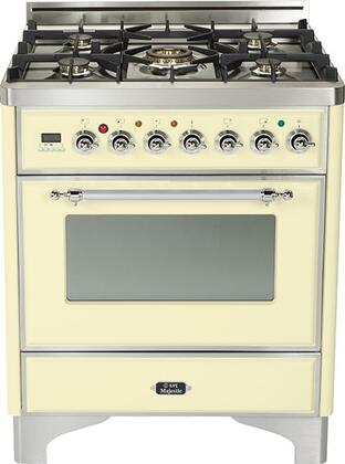 "Ilve UM76DVGGX 30"" Majestic Series Freestanding Gas Range with Chrome Trim, 5 Burners, Infrared Grill-Baking or Broiler, 3 cu. ft. Oven Capacity, Full Width Storage/Warming Drawer, Digital Clock and Timer, and Flame Failure Safety"