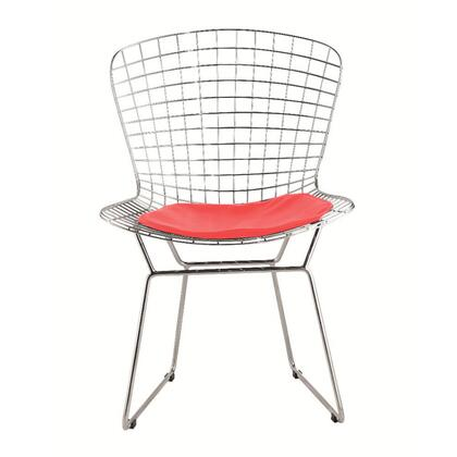 Fine Mod Imports FMI1143RED Wire Series Armless Sidechair Material: Leather Steel Frame Accent Chair