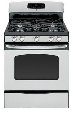 "GE JGB285DETWW 30"" Gas Freestanding Range with Sealed Burner Cooktop, 5.0 cu. ft. Primary Oven Capacity, Storage in White"
