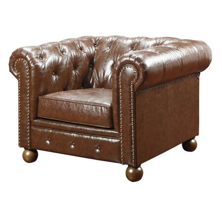 Armen Living LC10601X Winston1060 Vintage Chair with Button-tufted Detail, Bun Finished Feet and Antique Bonded Leather in