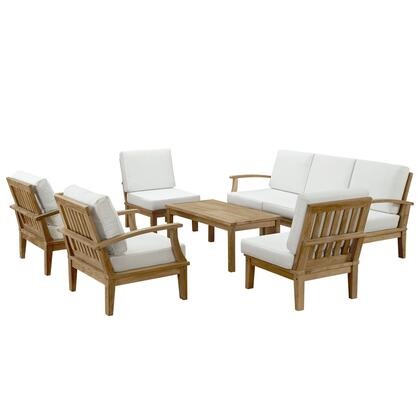 Modway EEI-1479-NAT Marina 8 Piece Outdoor Patio Teak Sofa + Chairs + Table Set, with Water/UV Resistant Cushions, Machine Washable Covers, and Solid Teak Wood Construction