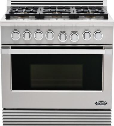 """DCS RGU366L 36"""" Professional Series Liquid Propane Freestanding Range with 6 Sealed Burner Cooktop 5.3 cu. ft. Primary Oven Capacity  Appliances Connection"""