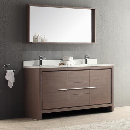 "Fresca Allier Collection FVN8119 60"" Modern Double Sink Bathroom Vanity with Mirror, 3 Soft Closing Drawers and Integrated Ceramic Countertop and Sink in"