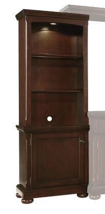 Millennium Porter W697-3 Wide Pier Cabinet with Adjustable Shelves, Lighting on Top and Framed Door in Rustic Brown Finish