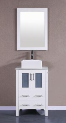 Bosconi Bosconi Single Vanity with soft closing doors , Top, Sink, Faucet and Mirror in White