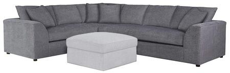 """Bassett Furniture Uptown Collection 3943-LSECTFC/FC149-x 124"""" L-Shaped Sectional Sofa with Fabric Upholstery, Shark Fin Designed Arms, Plush Seat and Back Cushions and Piped Stitching in"""