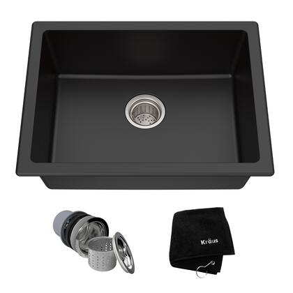 Kraus KGD41B Granite Series Single-Bowl Kitchen Sink with Natural Granite Construction, Rounded Corners, and Heat Resistance Capability, Black Onyx Finish