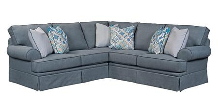"Broyhill Emily 6263XGSS/4022-44CW 110"" Wide 2PC Sectional Sofa with X Full Goodnight Sleeper, X Corner Sofa and Pillows Included in Blue with Contrast Welts"