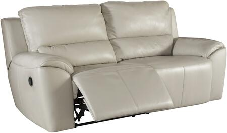 """Signature Design by Ashley Valeton U73500SF 86"""" Leather Match 2-Seat Reclining Sofa with Plush Padded Arms, Jumbo Stitching Details and Split Back Cushions in Cream Color"""