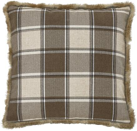 """Signature Design by Ashley Smythe Collection A100031X Set of 4 20"""" x 20"""" Pillows with Faux Fur Trim, Plaid Design and Polyester Cover in"""