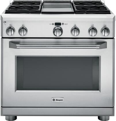 """GE Monogram ZDP364 36"""" Star K, Dual-Fuel Professional Range with 4 Sealed Dual Flame Stacked Burners and Griddle and Halogen Light Columns, in Stainless Steel:"""