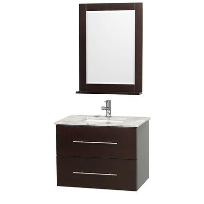 """Wyndham Collection WCVW00930S 30"""" Single Wall Mount Vanity with Square Undermount White Porcelain Sink, 1 Drawer, 1 Door, and Includes Matching Mirror in"""