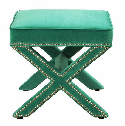 TOV Furniture Reese TOVO17 Ottoman Hand-Applied Nail Head Trim in
