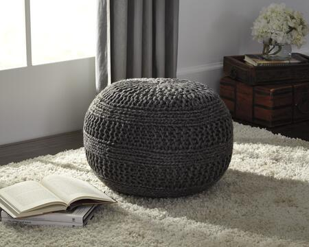 "Milo Italia Landen PF416487TM 14"" Pouf Ottoman with Rib Knit Texture, ESP Beads and Made of Wool in"