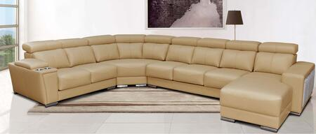 "ESF I1084X 152-108"" 8312 Sectional with Sliding Seats and Leather in Beige"