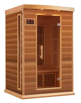"Maxxus MX-K206-01 75"" Low EMF Far Infrared Sauna with 2 Person Capacity, 6 Carbon Heating Elements, Chromotherapy Lighting, LED Control Panels, SD and USB Connection"