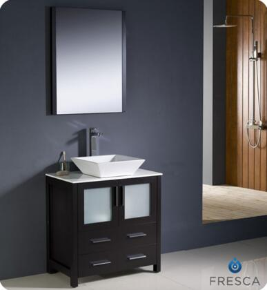 """Fresca Torino Collection FVN6230XX-VSL 30"""" Modern Bathroom Vanity with Vessel Sink, Mirror and 2 Soft Closing Drawers in"""
